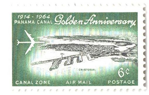 1964 6c grn,blk, Jet over Cristobal