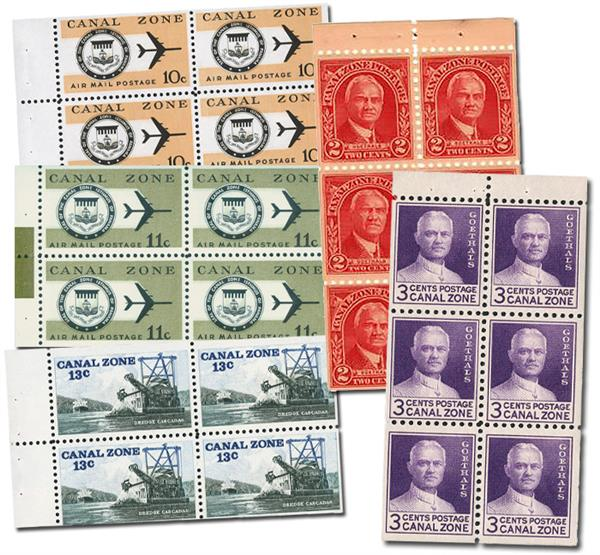 1928-76 Canal Zone Booklet Panes, includes 5 mint booklet panes