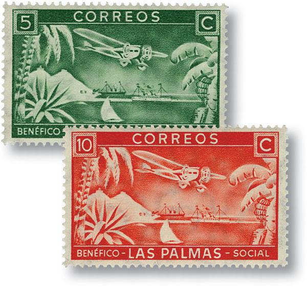 1937 Two Canary Islands Charity Labels