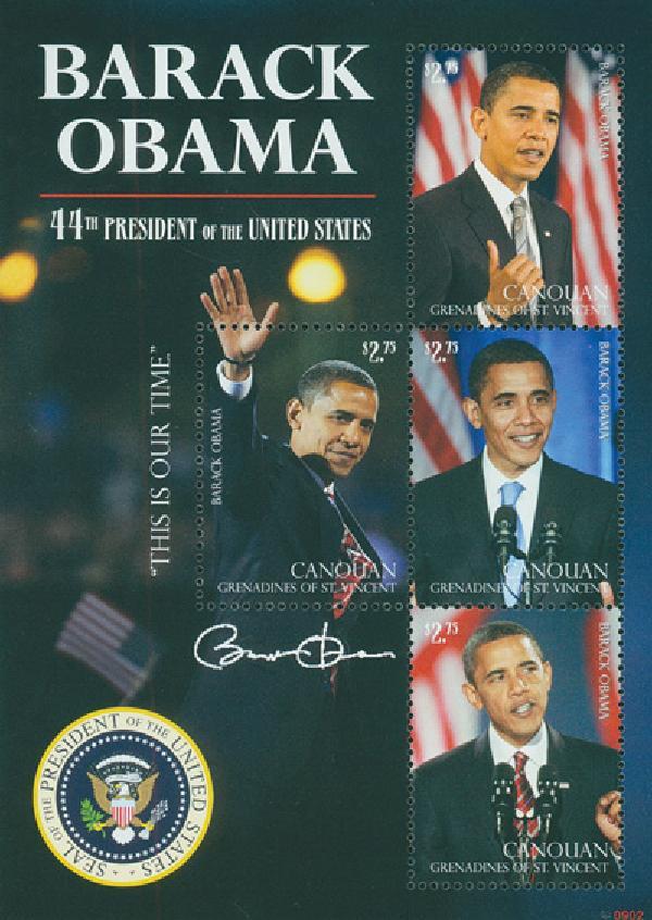 2009 President Barack Obama, 4 Stamps, Mint Canouan