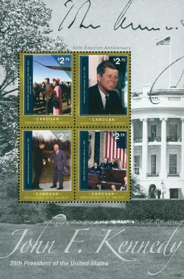 2010 Canouan John F. Kennedy 4v Mint