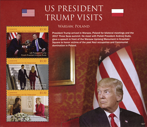 2018 President Trump Visits Warsaw, Poland, Mint Sheet of 3 Stamps