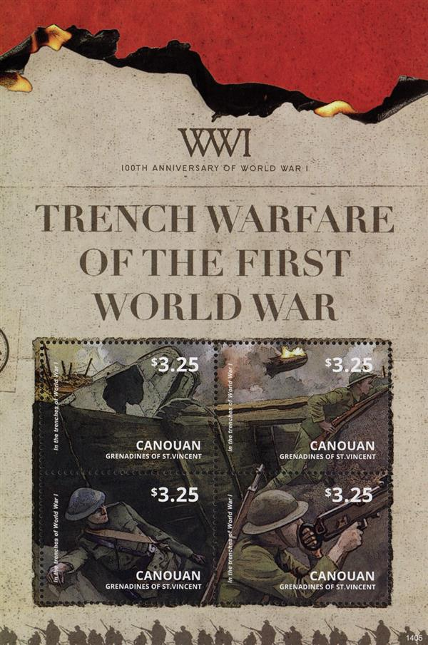 2014 $3.25 WWI 100th Anniversary - Trench Warfare, Mint Sheet of 4 Stamps, Canouan