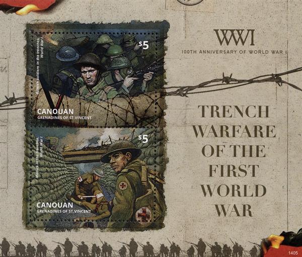 2014 $5 WWI 100th Anniversary - Trench Warfare, Mint Souvenir Sheet, Canouan