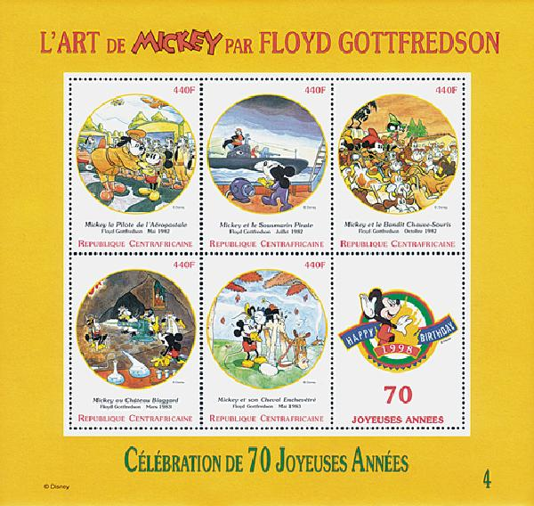1998 Disney Celebrate Mickeys 70th Birthday, Mint Sheet of 5 Stamps, Central Africa