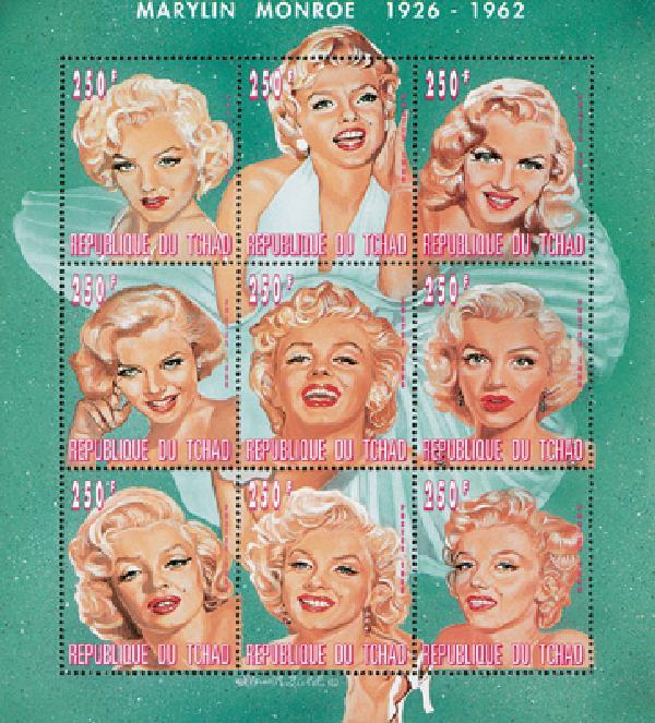 """1996 Chad #727 """"Portrait of Marilyn sh/9"""
