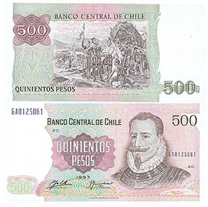 1993 Chile 500 Pesos Banknote