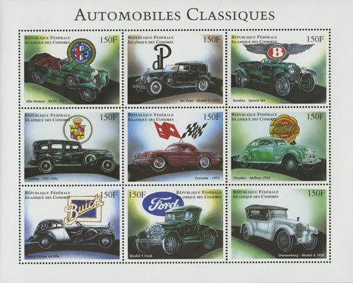 1998 Classic Automobiles Sheet of 9