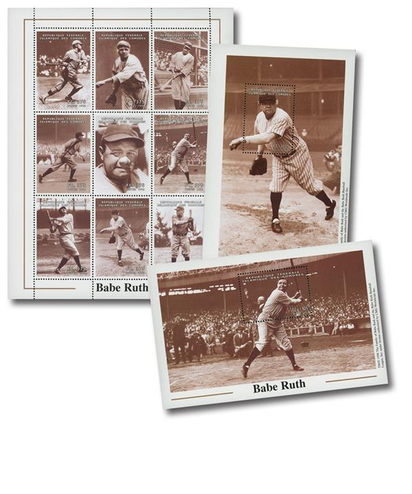 Babe Ruth set of 2 s/s & 1 sheet of 9