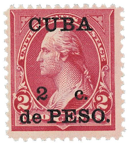 1899 2c on 2c red car, Cuba type III