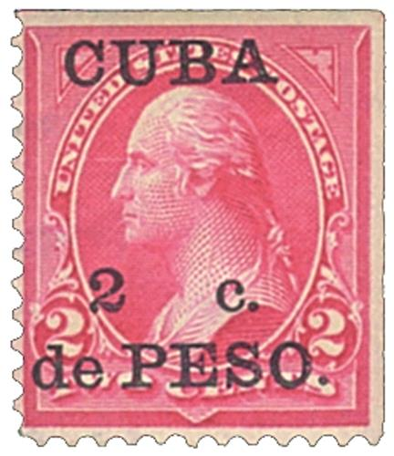 1899 2c on 2c red car, Cuba type IV