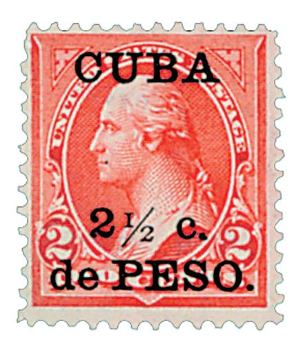 1899 21/2c on 2c red car,Cuba type IV