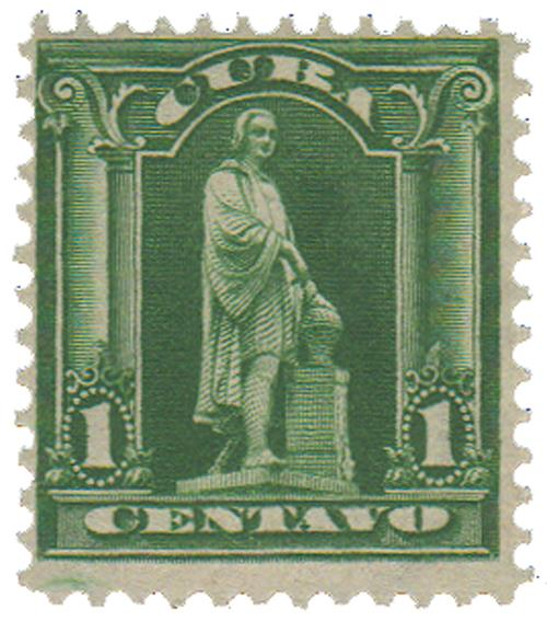 1899 1c yel green, Statue of Columbus