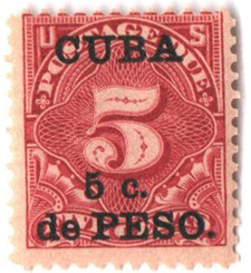 1899 5c on 5c dp cl, Cuba, post due