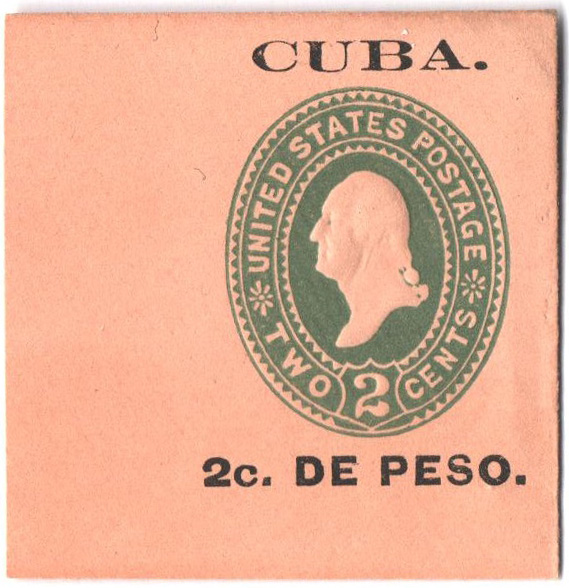1899 2c Cuba Envelope Square, green,buff