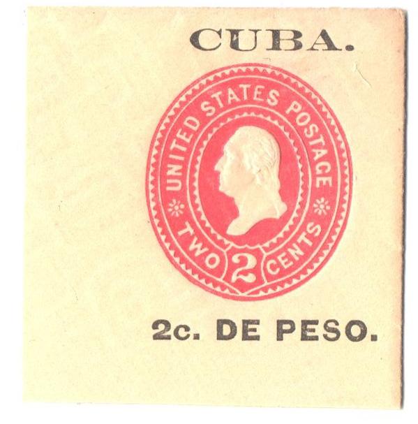 1899 2c Cuba Envelope Square,carmn,amber