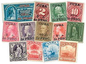 Item #M11475 – Collection of 14 Cuba stamps from 1899.