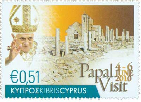 2010 Cyprus Pope Benedict 1v Mint