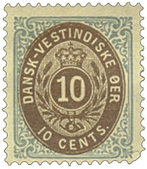 1874-79 10c Danish West Indies,blue&brwn