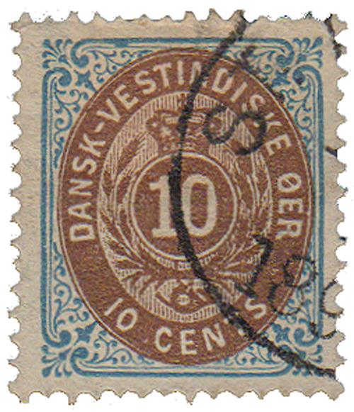1874-79 10c Danish West Indies,inverted
