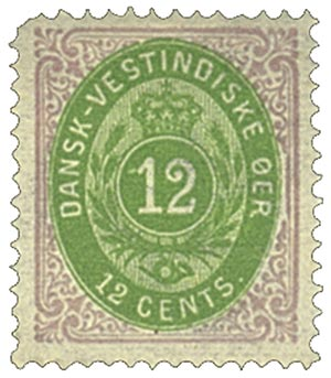 1874-79 12c Danish West Indies,red&ygrn