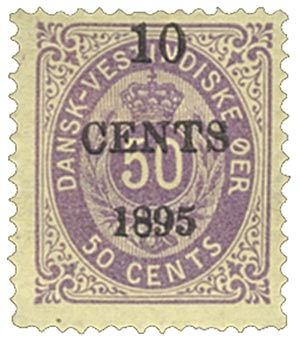 1895 10c on 50c Danish West Indies,violt