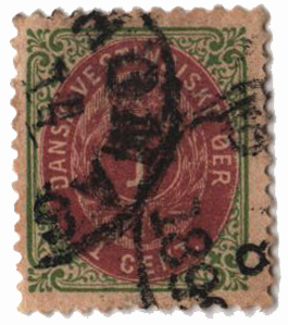 1896-1901 1c Danish West Indies,grn&viol