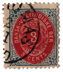 1896-1901 3c Danish West Indies,blue&lke