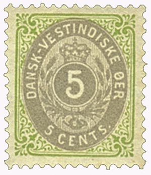 1896-1901 5c Danish West Indies,grn&gry