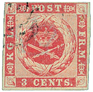 1866 3c Danish West Indies, rose
