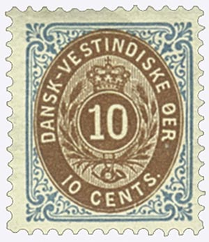 1896-1901 10c Danish West Indies,blu&bwn