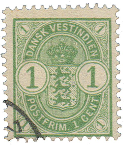 1900 1c Danish West Indies,light green
