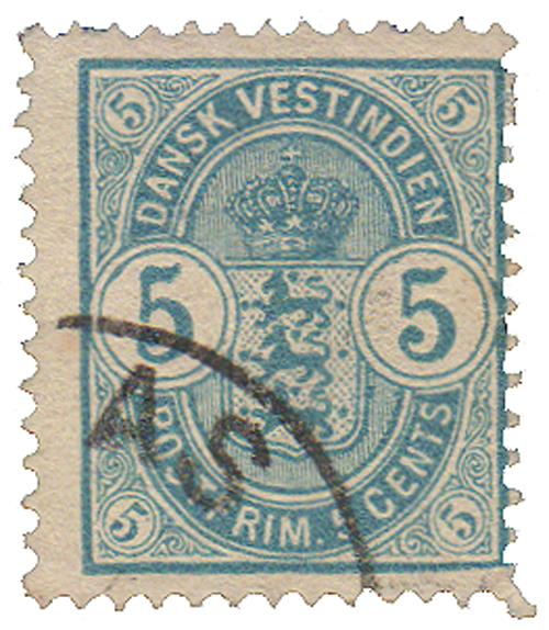 1900 5c Danish West Indies,light blue