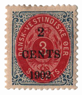 1902 2c on 3c Danish West Indies,blu&lke