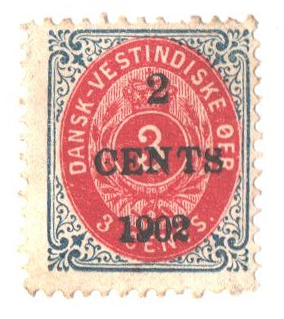 1902 2c on 3c Danish West Indies,invertd