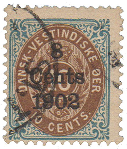 1902 8c on 10c Danish West Indies,blu&bn