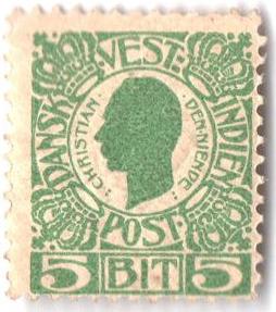 1905 5b Danish West Indies,green