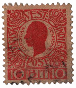 1905 10b Danish West Indies,red