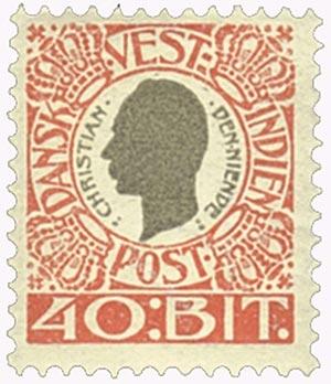 1905 40b Danish West Indies,red&gray