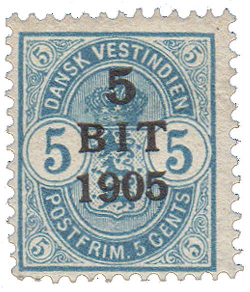 1905 5b on 5c Danish West Indies,lt blue