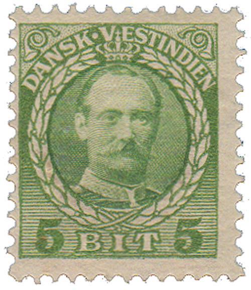 1908 5b Danish West Indies,green