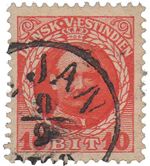 1908 10b Danish West Indies,red