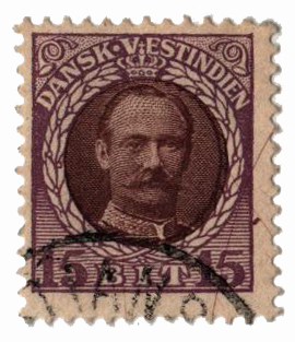 1908 15b Danish West Indies,violet&brown