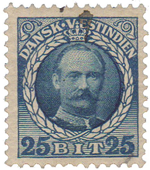 1908 25b Danish West Indies,blue&dk blue
