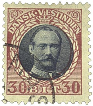 1908 30b Danish West Indies,claret&slate