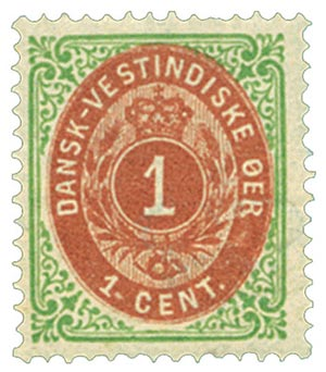 1874-79 1c Danish West Indies,grn&brnred