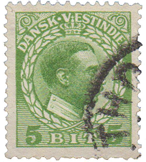 1915 5b Danish West Indies,yellow green
