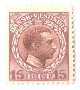 1915 15b Danish West Indies,lilac&rd bwn