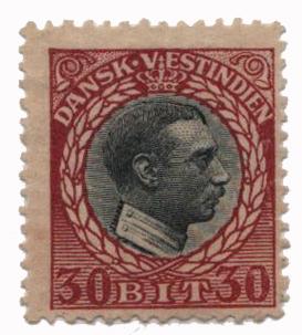 1915 30b Danish West Indies,claret&black