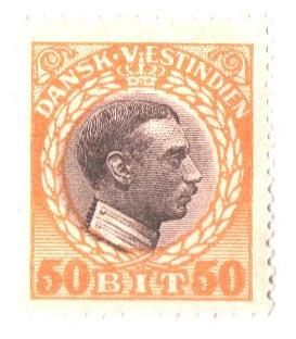 1915 50b Danish West Indies,yellow&brown
